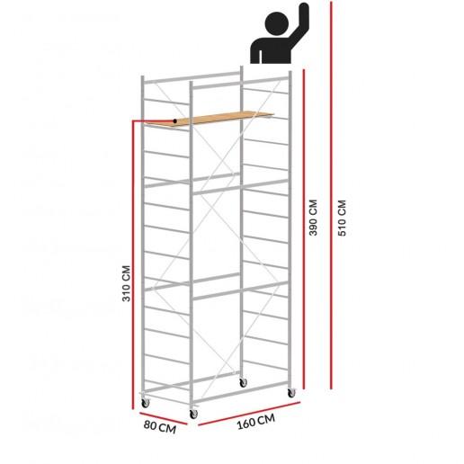 Scaffold Tower JOLLY 160 (Working Height 5,10 m)