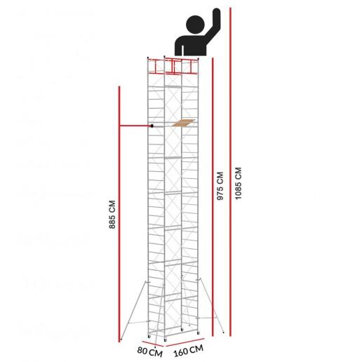 Échafaudage M4 LUX (Hauteur de travail 10,85 m)