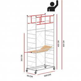 Scaffold Tower M4 LUX with extractable base (Working Height 5 m)