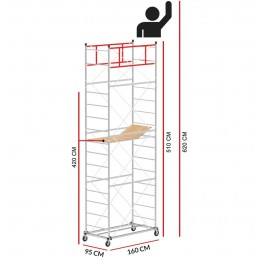 Scaffold Tower M4 LUX with extractable base (Working Height 6,2 m)