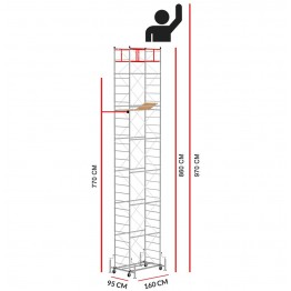 Scaffold Tower M4 LUX with extractable base (Working Height 9,70 m)