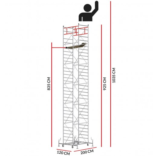 Échafaudage M5 ITALY (Hauteur de travail 10,35 m)