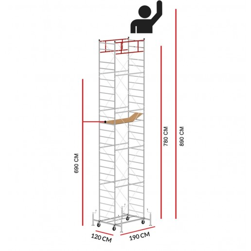 Échafaudage M5 LUX (Hauteur de travail 8,90 m)