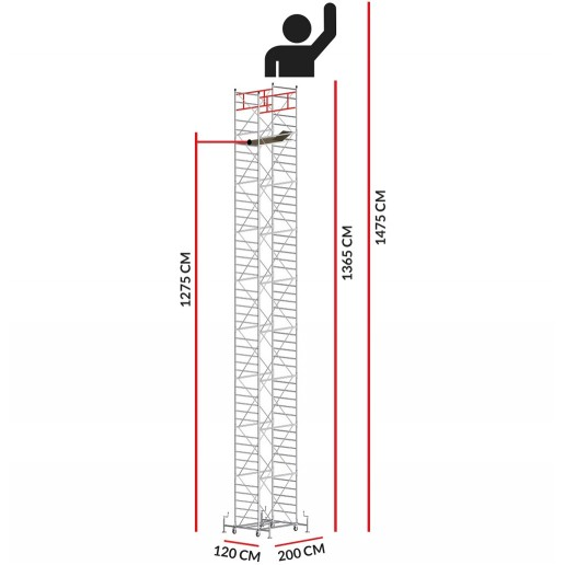 Échafaudage M5 SUPERLUX (Hauteur de travail 14,75 m)