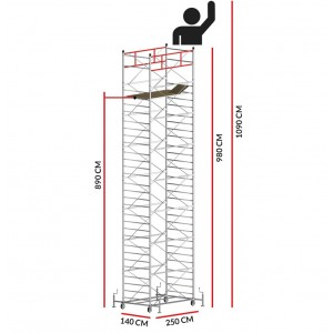 Échafaudage TITANIUM PRO (Hauteur de travail 10,90 m)