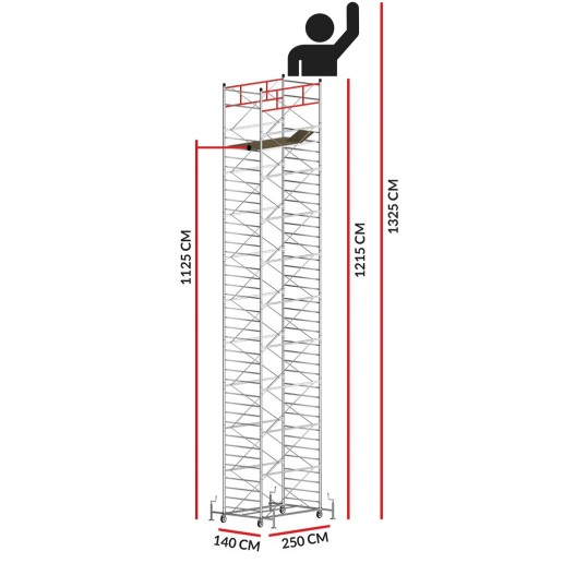 Échafaudage TITANIUM PRO (Hauteur de travail 13,25 m)