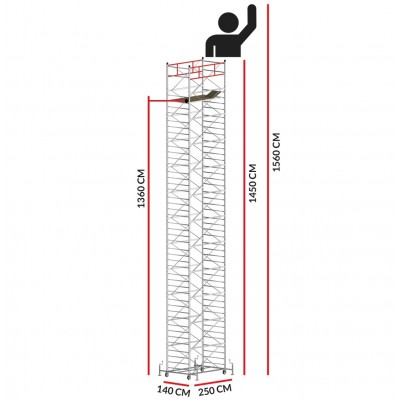 Scaffold Tower TITANIUM PRO (Working Height 15,60 m)