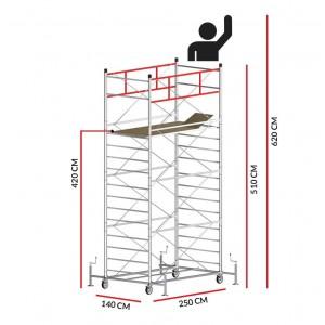 Échafaudage TITANIUM PRO (Hauteur de travail 6,20 m)