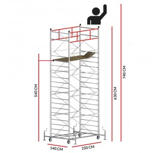 Échafaudage TITANIUM PRO (Hauteur de travail 7,40 m)