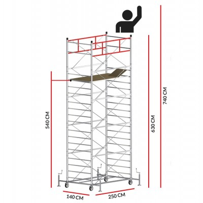 Scaffold Tower TITANIUM PRO (Working Height 7,40 m)