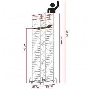 Échafaudage TITANIUM PRO (Hauteur de travail 9,70 m)
